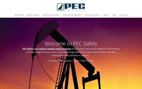 Screenshot of Home Page pecsafety.com - PEC Safety | SafeLandUSA, SafeGulf, Contractor Management - captured June 16, 2015