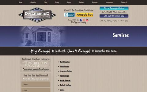 Screenshot of Services Page diversifiedroofing.net - Services | Diversified Metal Roofing Company - captured Feb. 9, 2016