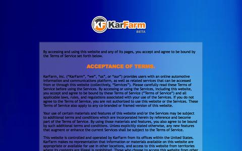 Screenshot of Terms Page karfarm.com - KarFarm - The Key to Your New Ride - captured Sept. 30, 2014
