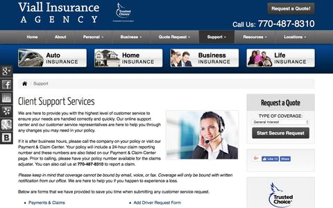 Screenshot of Support Page insurancepeachtreecityga.com - Client Support Services for Viall Insurance Agency in Peachtree City Georgia - captured Oct. 25, 2017