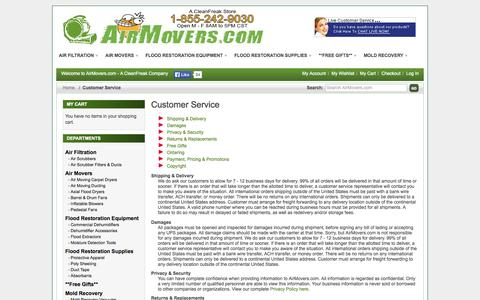 Screenshot of Support Page airmovers.com - Customer Service - captured Oct. 4, 2014