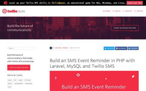 Screenshot of Blog twilio.com - Build an SMS Event Reminder in PHP with Laravel, MySQL and Twilio SMS - Twilio - captured Nov. 28, 2019