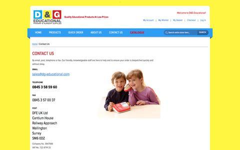 Screenshot of Contact Page dg-educational.com - D&G Educational | Educational Supplies | Contact Us - captured Sept. 24, 2018