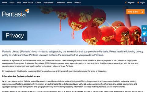 Screenshot of Privacy Page pentasia.com - Privacy   Pentasia - captured July 12, 2016