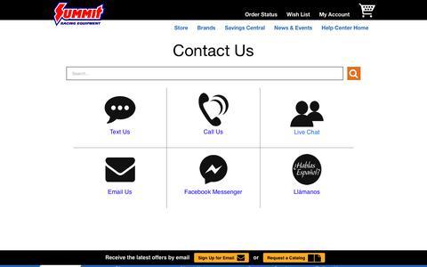Screenshot of Contact Page summitracing.com - Contact Us - captured Feb. 27, 2020