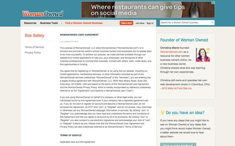 Screenshot of Terms Page womanowned.com - Terms of Service | Woman Owned - captured Oct. 26, 2014