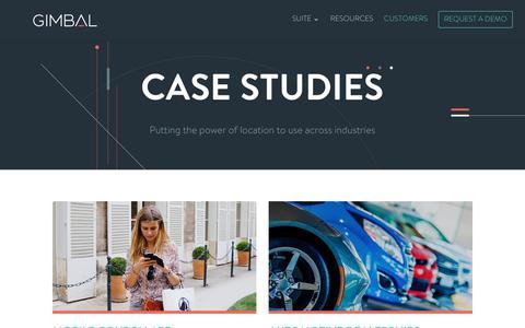 Screenshot of Case Studies Page gimbal.com - Mobile Marketing Case Studies | Gimbal - captured May 13, 2019