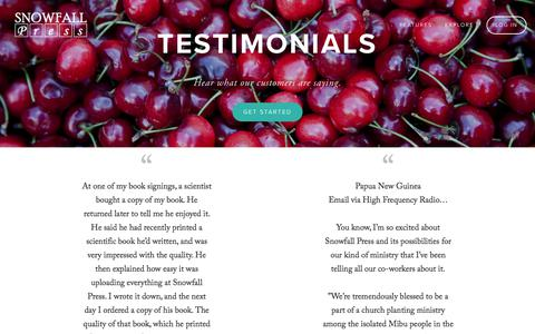 Screenshot of Testimonials Page snowfallpress.com - Testimonials — Snowfall Press - captured Oct. 24, 2017