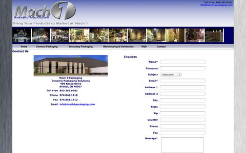 Screenshot of Contact Page mach1packaging.com - Mach 1 Dynamic Packaging - Contact - captured Oct. 5, 2014