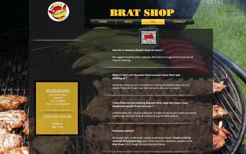 Screenshot of FAQ Page bratshop1.com - Brat Shop | Caterer | Near Chicago | FAQ - captured Nov. 23, 2016