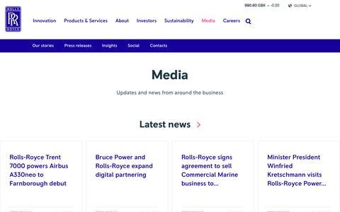 Screenshot of Press Page rolls-royce.com - Media – Rolls-Royce - captured July 13, 2018