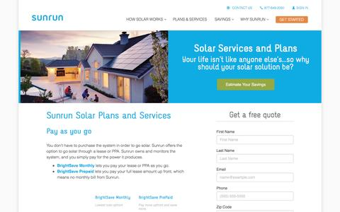 Screenshot of Products Page sunrun.com - Solar Plans   Solar Services   Sunrun - captured March 31, 2016