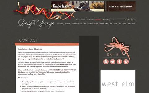 Screenshot of Contact Page designsponge.com - contact | Design*Sponge - captured Sept. 18, 2014