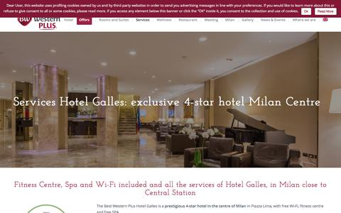 Screenshot of Services Page galles.it - Luxury Hotel Milan | 4 Star Hotel in Milan close to Central Station - captured July 7, 2017