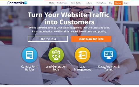 Screenshot of Home Page contactus.com - Contact Form, Customer Acquisition and Lead Generation Software - captured Sept. 13, 2014