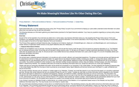 Screenshot of Privacy Page Terms Page christianmingle.com - ChristianMingle - Terms of Use - captured Nov. 14, 2015