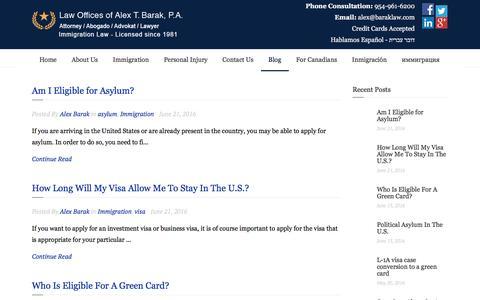 Screenshot of Blog baraklaw.com - Blog | Law Offices Of Alex T. Barak, P.A - captured July 28, 2016