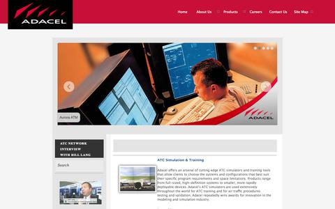 Screenshot of Products Page adacel.com - ADACEL – Air Traffic Control Simulation & Training solutions, Air Traffic Management, speech recognition applications, aviation phraseology, and global support & services - captured Sept. 30, 2014