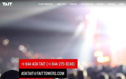Screenshot of Support Page taittowers.com - Tait | Support - captured Jan. 10, 2016