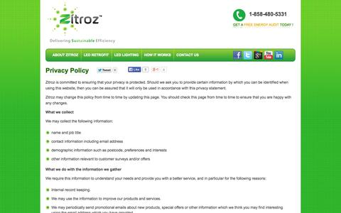 Screenshot of Privacy Page zitroz.com - Privacy Policy | Zitroz - captured Oct. 7, 2014