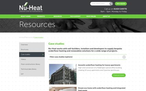 Screenshot of Case Studies Page nu-heat.co.uk - Case studies | Nu-Heat underfloor & renewables : - captured April 19, 2017