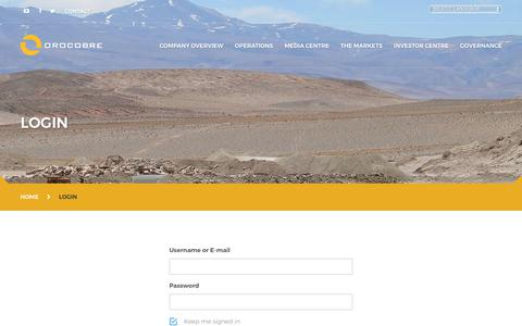 Screenshot of Login Page orocobre.com - Login - Orocobre : Orocobre - captured Oct. 4, 2017