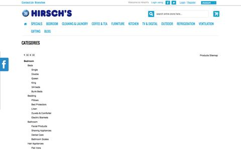 Screenshot of Site Map Page hirschs.co.za - Site Map - captured Sept. 19, 2014