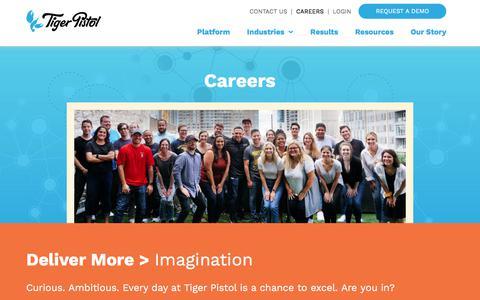 Screenshot of Jobs Page tigerpistol.com - Careers in Social Advertising Technology at Tiger Pistol - captured Sept. 6, 2019
