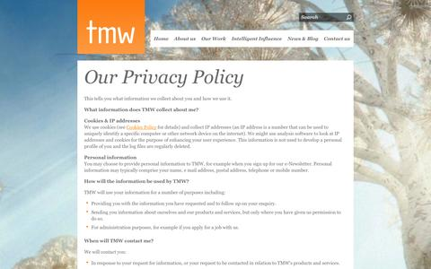 Screenshot of Privacy Page tmw.co.uk - Privacy Policy - captured Sept. 19, 2014