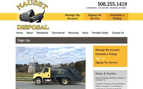 Screenshot of Signup Page nausetdisposal.com - Sign Up - Nauset DisposalNauset Disposal - captured Oct. 20, 2018