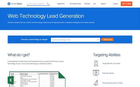 Screenshot of similartech.com - Web Technology Lead Generation - captured March 19, 2016