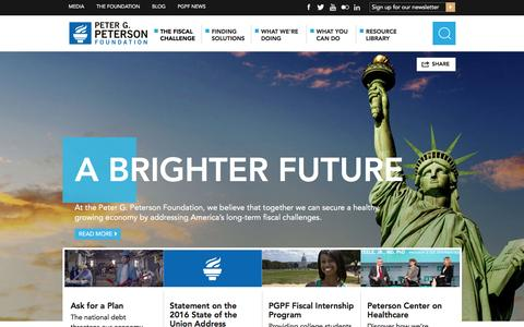 Screenshot of Home Page pgpf.org - Peter G. Peterson Foundation | Addressing Issues for Economic Growth - captured Jan. 14, 2016