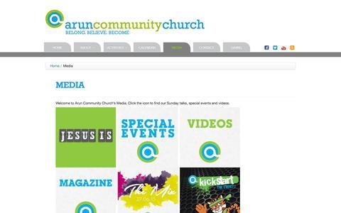 Screenshot of Press Page aruncommunitychurch.com - Arun Community Church | Media - captured Dec. 26, 2015