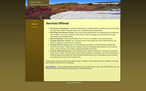 Screenshot of Services Page debs-web.com - Services - DEBS-Web - captured Oct. 5, 2014