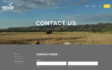 Screenshot of Contact Page enviafoundation.org - Contact Us — Envia Foundation - captured July 20, 2018