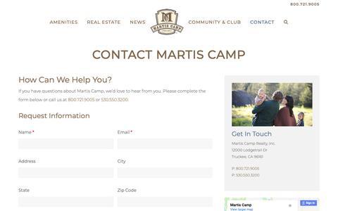 Screenshot of Contact Page martiscamp.com - Tahoe Luxury Properties - Martis Camp Truckee - captured Nov. 17, 2018
