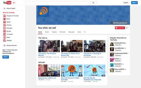 Screenshot of YouTube Page youtube.com - You click, we call  - YouTube - captured Oct. 22, 2014