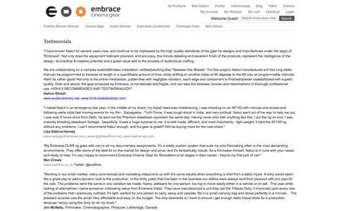Screenshot of Testimonials Page embracecinemagear.com - Testimonial - captured Sept. 29, 2014