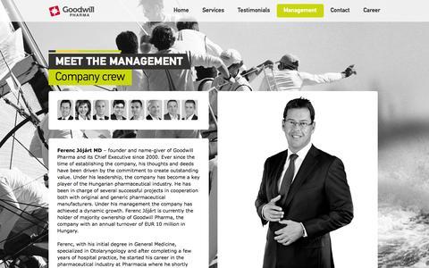Screenshot of Team Page goodwillpharma.com - Goodwill Pharma•Management - captured Oct. 8, 2014