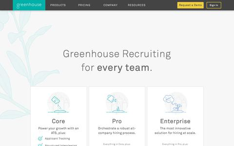 Screenshot of Pricing Page greenhouse.io - Recruiting Software & Applicant Tracking System | Greenhouse - captured Feb. 28, 2018