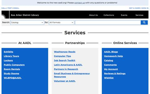 Screenshot of Services Page aadl.org - Services   Ann Arbor District Library - captured Jan. 16, 2018