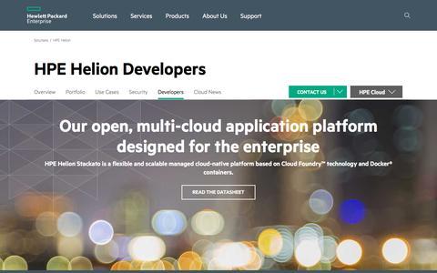 Screenshot of Developers Page hp.com - HPE Helion Cloud Developer Network and Development Platform | Hewlett Packard Enterprise - captured Aug. 26, 2016