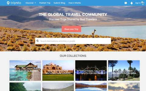 Screenshot of Home Page tripoto.com - Share & Discover Personal Travel Itineraries, Maps & Guides - captured Dec. 18, 2015
