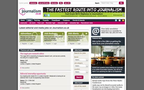 Screenshot of Jobs Page journalism.co.uk - News vacancies for reporters, subs, editors, journalists, magazine designers - captured Sept. 18, 2014