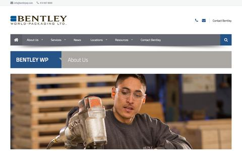 Screenshot of About Page bentleywp.com - About, Company History   Bentley World Packaging - captured Oct. 5, 2014