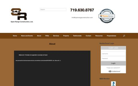 Screenshot of About Page openrangeconstruction.com - About – Open Range Construction Ltd. - captured Oct. 18, 2018