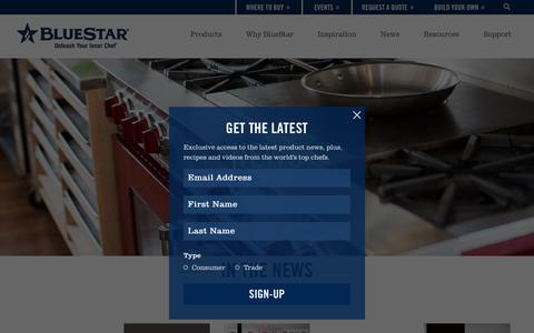 Screenshot of Press Page bluestarcooking.com - In The News | BlueStar - captured Sept. 30, 2016