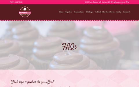 Screenshot of FAQ Page smallcakesnm.com - FAQs - Smallcakes - captured Oct. 18, 2018