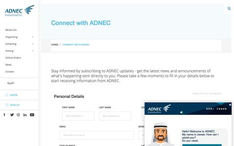 Screenshot of Signup Page adnec.ae - Connect with ADNEC - captured Nov. 12, 2018