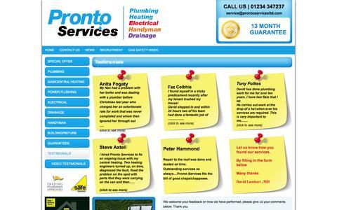 Screenshot of Testimonials Page prontoservicesltd.com - Testimonials for Pronto Services Ltd | Bedford - captured Oct. 3, 2014